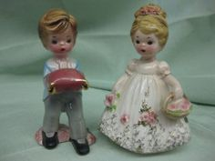 """The vintage Flower Girl and Ring Bearer each stand 4"""""""" tall, and are in excellent condition. Please see the photo collection for each piece. I am selling them as a set. They are valued at $30-40 ea"""