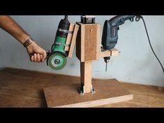 Making 2 In 1 Drill Press / Angle Grinder Stand Homemade Drill Press, Angle Grinder Stand, Auto Body Repair Shops, Drill Press Stand, Idee Diy, Diy Garage, Wood Working For Beginners, Diy Tools, Power Tools