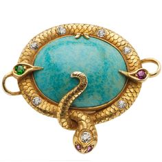 Amazonite and Gold Snake Pin, ca. 1870.