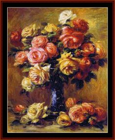 RE-25.1 - Vase of Roses - All cross stitch patterns - - Floral - Impressionist - Renoir - Still Life - Cross Stitch Collectibles