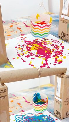 Find out how to make this fun pendulum painting with kids out of recycled materials! A great STEM or STEAM art, engineering project and craft painting activity for kids! Create amazing art with this fun STEM painting activity using recycled materials! Toddler Crafts, Preschool Crafts, Diy Crafts For Kids, Kids Paint Crafts, Creative Ideas For Kids, Craft Paint, Art Crafts, Creative Crafts, Art Games For Kids