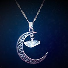 """Moon Pendant Beautiful moon pendant with natural citrine quartz crystal. Moon is about 1 1/2"""" long. Chain is 16 inches and 925 Sterling silver. New in package. Jewelry Necklaces"""