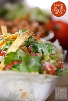Homemade Cafe Rio Sweet Pork Salad is a copycat recipe for a restaurant favorite. I'm a huge fan of this salad recipe.