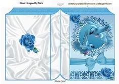 Pretty turq birds in flight with roses and bow folded book on Craftsuprint - Add To Basket!