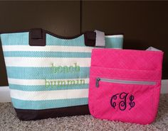 Turquoise Euro Straw Tote w/ lime green Coral Cross Pop Organizing Shoulder Bag w/navy