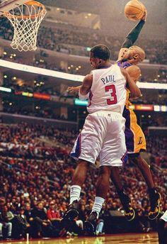Kobe Bryant Los Angeles Lakers Chris Paul Los Angeles Clippers … - Beauty is Art Kobe Bryant Dunk, Bryant Basketball, Lakers Kobe Bryant, Basketball Players, Basketball Photos, Basketball Skills, Basketball Legends, Basketball Cards, College Basketball
