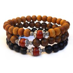 set of 3 mala bracelets sandalwood, ebony with genuine jasper guru beads by #lovepray #jewelry