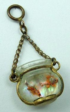 Pisces:  #Pisces ~ Edwardian Czech Glass Goldfish Bowl Intaglio Charm.