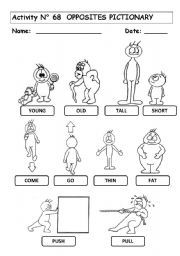 English worksheet: OPPOSITES´  PICTIONARY