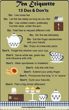 Dinning Etiquette, Tea Etiquette, Etiquette And Manners, Comment Dresser Une Table, Afternoon Tea Parties, Afternoon Tea Recipes, Cuppa Tea, Tea Sandwiches, High Tea