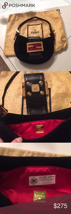 FENDI BAGETTE Beautiful black suede fendi bagette. Gold tone with red. NEVER WORN.  Comes with dust bag. In pristine condition. Fendi Bags Mini Bags