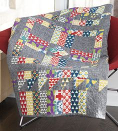 Stamped Quilt by Ellen Luckett Baker. This modern quilt is one part Mondrian, two parts marvelous.