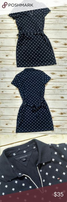 """Tommy Hilfiger Navy & White Polo Collar Dress Tommy Hilfiger Navy & White Polo Collar Dress  Size M in excellent condition. Features a the waist and Tommy flag applique on chest. 16"""" bust and 36"""" in length. Perfect preppy dress for back to school or a day out with friends. Tommy Hilfiger Dresses Mini"""