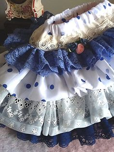 Shades of blue Vintage Lace  and Eyelet Toddler by Babybonbons, $55.00