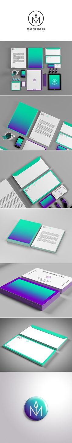 Purple and teal branding for a company called Match Ideas.