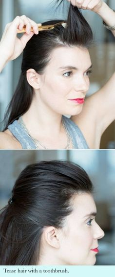 QUICK TIP: Like big hair? Use a toothbrush to get a perfect quiff/bump without backcombing and without tangles...x