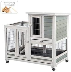 Amazon.com: U-MAX Rabbit Hutch Pet House for Small Animals Guinea Pig House Rabbit Cage with Run Bunny House Indoor & Outdoor 4 Casters Removable No Leak Trays & Ladder (37 inches): Pet Supplies Indoor Rabbit Cage, Outdoor Rabbit Hutch, Guinea Pig Run, Guinea Pig House, Cheap Plywood, Lop Bunnies, Bunny Hutch, Bunny Cages, House Rabbit