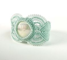 Macrame Bracelet Mother Of Pearl With Mint Thread by neferknots