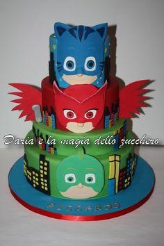 #Torta Superpigiamini #PJ mask cake #Pj Mask #Superpigiamini Pj Masks Birthday Cake, Toddler Birthday Cakes, Birthday Party Themes, 4th Birthday, Birthday Decorations, Birthday Ideas, Cupcakes, Cupcake Cakes, Bolo Moana