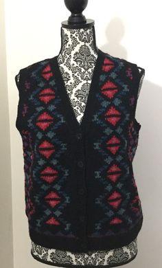 LL BEAN Ladies Small Wool Sleeveless Cardigan Sweater Fair Isle Vest Hand Knit #LLBean #VestSleeveless
