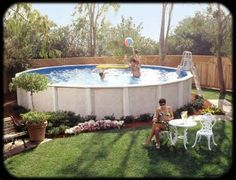 96 best above ground pool landscaping images on pinterest for Pool design 1970