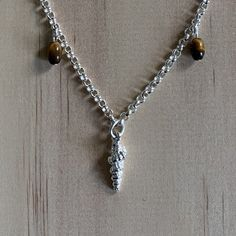 Silver Shell & Tigers Eye Charm Anklet