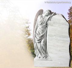 Clarissa - trauernde Engelsfrau in Marmor. Dieser #Grabstein wird für ein Einzelgrab mit einer seitlich angeordneten Engel-Plastik gefertigt. Der Körper des #Engels folgt elegant dem seitlichen Schwung der Grabsteine. Wahlweise fertigen wir unsere Grabsteine auch für eine Doppelgrabstätte.