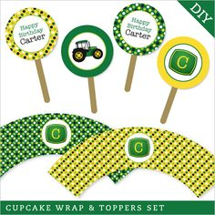 Chickabug tractor party - DIY printable cupcake wrapper & topper set