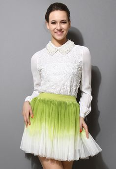 Pearly Collar 3D Flower Top