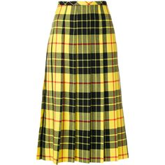 Junya Watanabe Comme Des pleated plaid midi skirt ($763) ❤ liked on Polyvore featuring skirts, green skirt, knee length a line skirt, wool pleated skirt, green a line skirt and a line skirt