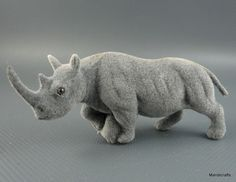 Flocked Putz Rhino Figure 1.5  Germany no label Factory Flaw extra material Vtg