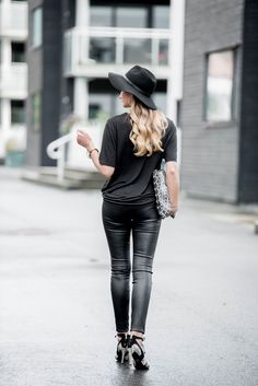 Jeanette Sundøy - By Malene Birger - Leather pants - Leather bag - Black - Pumps - Quay - Outfit - Wool hat