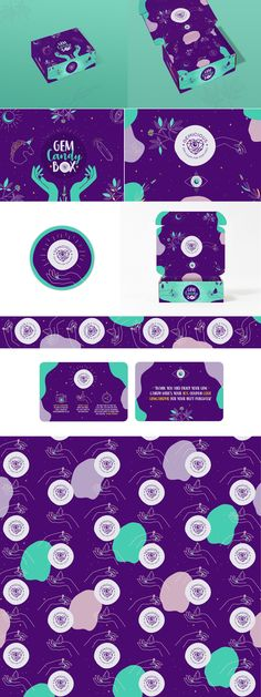 Subscription box packaging design by ANAMOLLY featuring neon green and purple colors and hand-drawn elements. In 2020, expect graphic design trends that involve cyberpunk color schemes.