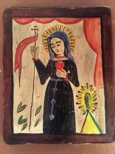 Reproduction of a century New Mexican retablo from a private collection. Mexican People, New Mexican, Mexican Folk Art, Mexican Stuff, Colonial Art, Spanish Colonial, Patron Saint Of Cats, Tutorial Paint, Assemblage Art