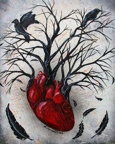 Silent heart- Original tree, heart raven crow, acrylic, spray and oil painting on canvas by LittleShopOfLostArts on Etsy Heart Wall Art, Tree Wall Art, Canvas Wall Art, Tree Canvas, Heart Painting, Oil Painting On Canvas, Crow Painting, Oil Paintings, Art Of Love