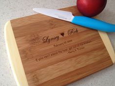 Engraved Wood Cutting Board, Bridal Shower Gift, Wedding Present, Unique Wedding Gift, Laser Engraved Engraved Wedding Gifts, Unique Wedding Gifts, Unique Weddings, Gift Wedding, Engraved Cutting Board, Diy Cutting Board, Wood Cutting Boards, Wedding Shower Gifts, Bridal Shower Favors