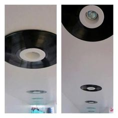 Reutilização de discos de vinil. Muito bom numa sala de tv e música.    A foto é resultado de um projeto desenvolvido em um escritório canadense, o TerraCycle.