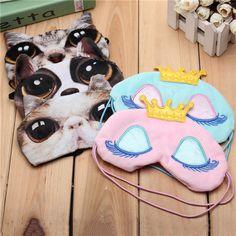 3D Animal Cat Dog Face Eye Mask Eyepatch Travel Sleeping Blindfold Winker at Banggood