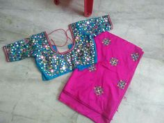 Mirror Work Saree, Work Sarees, Saree Blouse, Blouse Designs, Rompers, Blouses, Embroidery, Dresses, Fashion