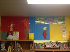 Elementary library decorations at the Hornets' Nest