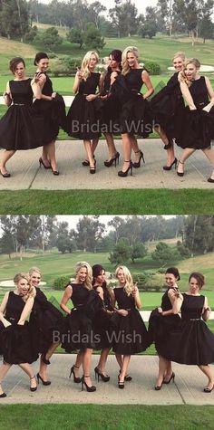Popular Black Sleeveless Knee Length Bridesmaid Dresses , BW0516#bridesmaids #bridesmaiddress #bridesmaiddresses #dressesformaidofhonor #weddingparty #2020bridesmaiddresses Knee Length Bridesmaid Dresses, Black Bridesmaids, Mismatched Bridesmaid Dresses, Bridesmaid Outfit, Bridesmade Dresses, Beautiful Bridesmaid Dresses, Bridesmaid Gowns, Pretty Dresses, Inexpensive Wedding Dresses