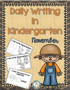 November, month 3, lets your students practice writing letters. • Week 1 starts with a pre-assessment on page 1. Then presents the letters in alphabetical order Aa - Ll • Week 2 practices writing the letters Mm - Zz • Week 3 incorporates initial sounds of some Thanksgiving pictures. • There are only 3 weeks this month allowing for the Thanksgiving holidays.