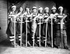 Girls hockey team circa 1921 via http://polarbearstale.blogspot.com/2010/12/womens-ice-hockey.html