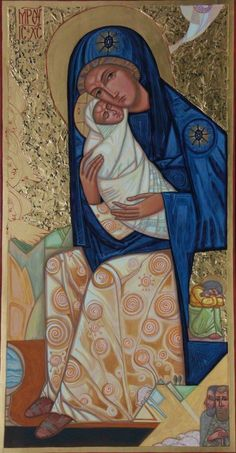 Icon: The Nativity by Anna Boiko Religious Pictures, Religious Icons, Religious Art, Blessed Mother Mary, Divine Mother, Virgin Mary, Images Of Mary, Religious Paintings, Mary And Jesus
