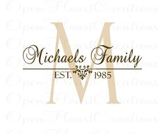 Personalized Family Name Vinyl Wall Decal - Last Name with Established Date - Entry Way Bedroom Living Room Decor 22H x 32W PD0014. $45.00, via Etsy.