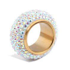 Moda brillante strass completa anelli di Cristallo per le donne di lusso Anello di Nozze Gioielli in oro placcato