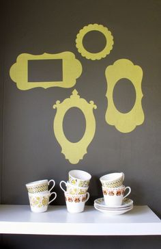 """6x4"""" picture frame decals - set of 4 - yellow fabric - restickable fabric wall stickers. $44.00, via Etsy."""