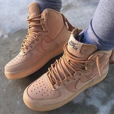 Beige Nike Air Force 1's