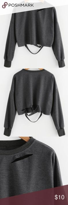 👽 Dark Grey Long Sleeve Crop Top New W/O tags. Cotton material but will not shrink when washed. Comfortable and trendy winter top. Offers welcome but no trades. Stussy Tops Tees - Long Sleeve