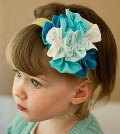 JT/_ Chic Baby Chiffon Pearl Headband Rose Flower Hairband Photography Prop Ban